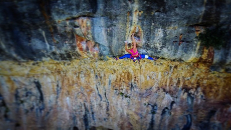 Climbing my first 7b in Cala Magraner captured by a drone
